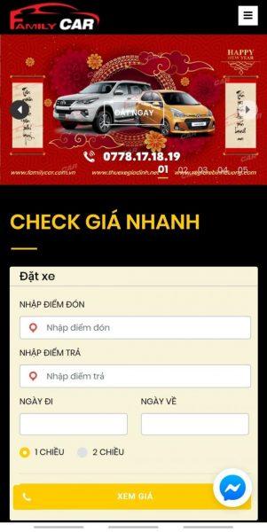 Check giá nhanh Taxi Grab Website