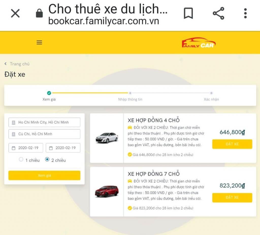 Giá Taxi Bến Cát